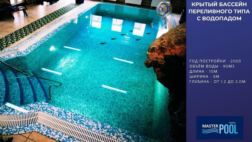 Крытый бассейн переливного типа с водопадом - Компания «MasterPool»