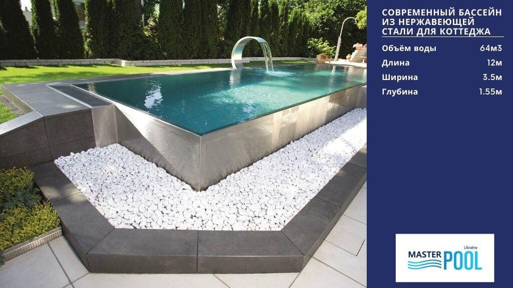 Современный бассейн инз нержавеющей стали для коттеджа - Мастерпул