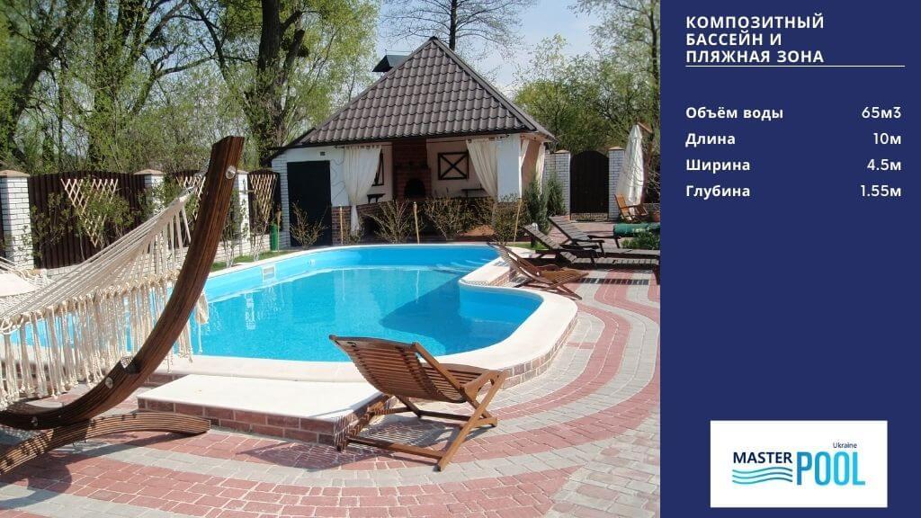 Композитный бассейн под ключ с пляжной зоной - MasterPool Ukraine