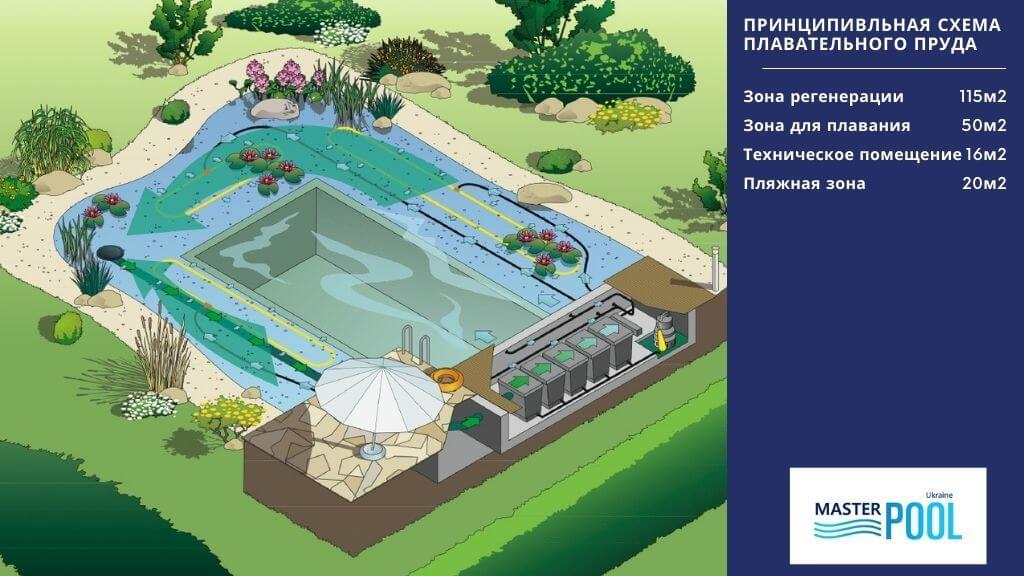 Принципиальная схема плавательного пруда №2 - MasterPool Ukraine