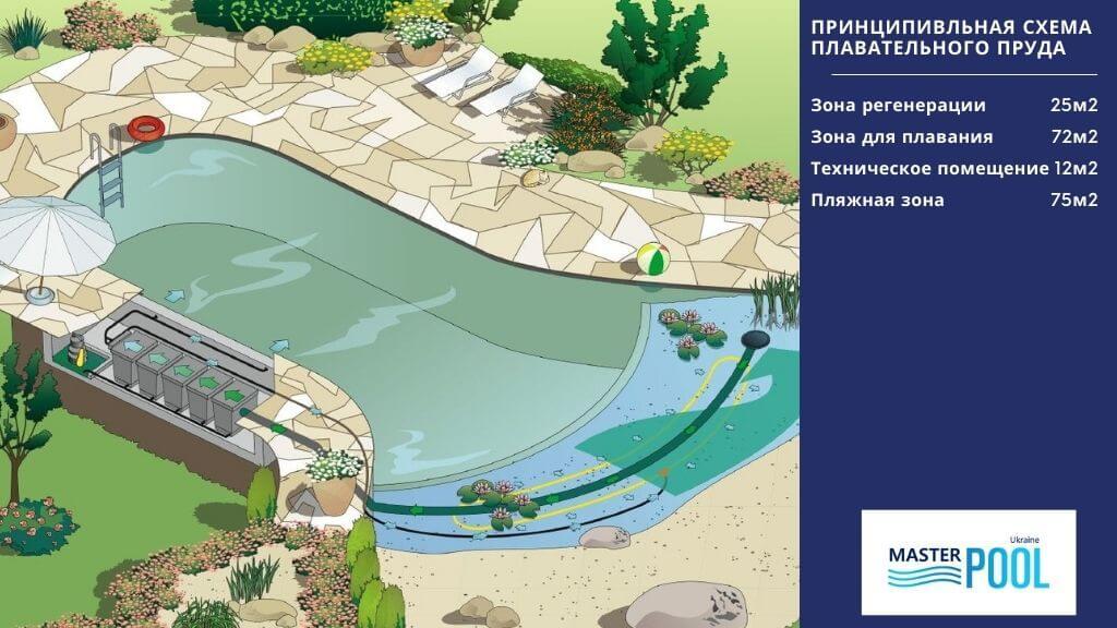 Принципипальная схема плавательного пруда №1 - MasterPool Ukraine