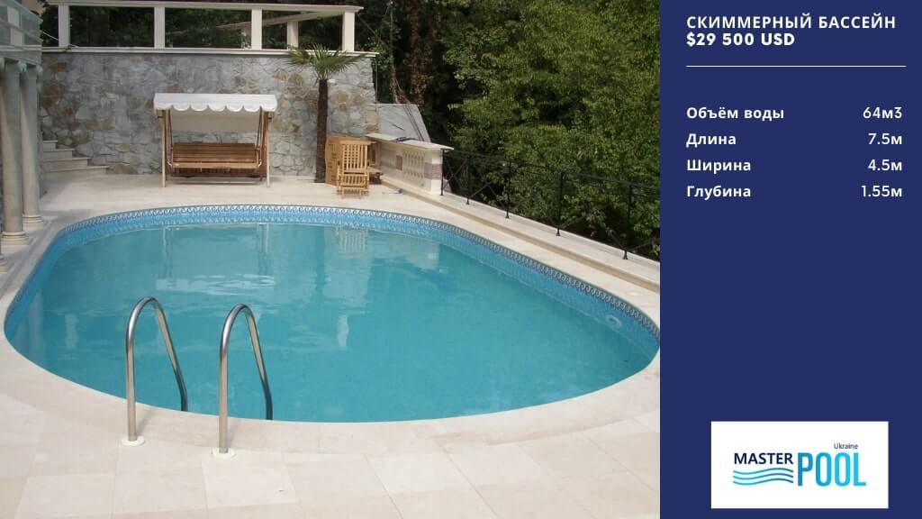 Скиммерный бассейн по цене $29 500 - masterpool.com.ua